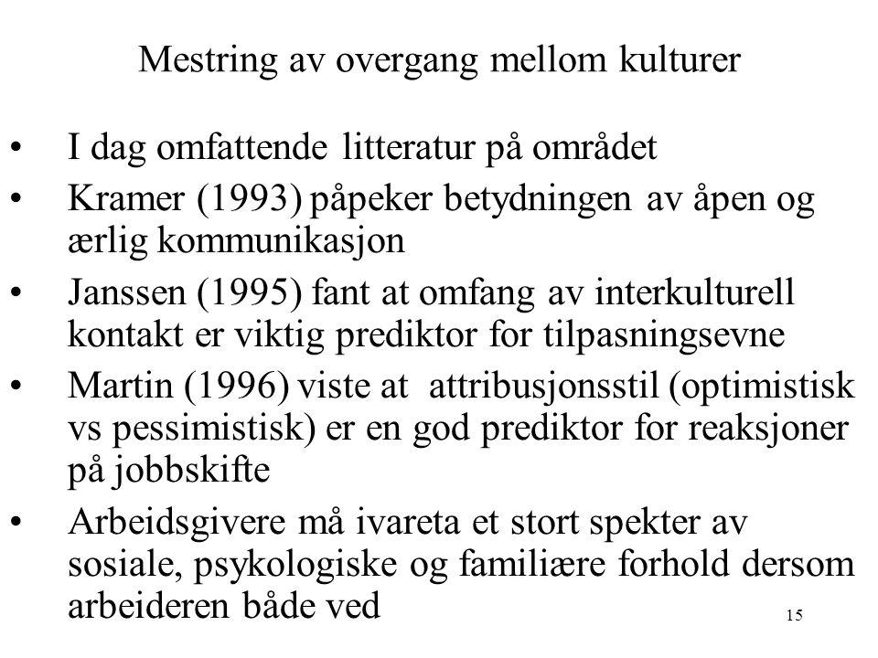 15 Mestring av overgang mellom kulturer I dag omfattende litteratur på området Kramer (1993) påpeker betydningen av åpen og ærlig kommunikasjon Jansse