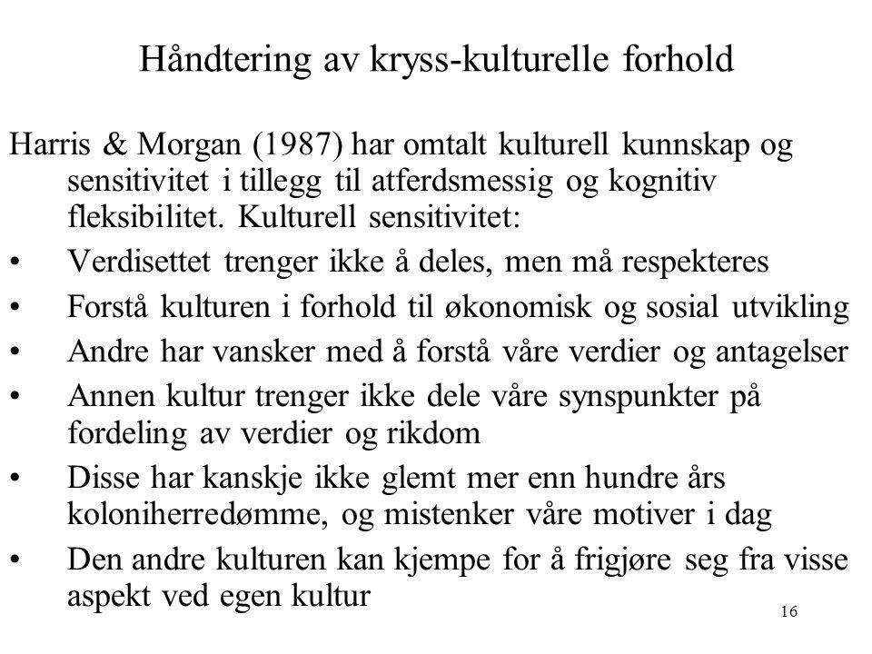 16 Håndtering av kryss-kulturelle forhold Harris & Morgan (1987) har omtalt kulturell kunnskap og sensitivitet i tillegg til atferdsmessig og kognitiv