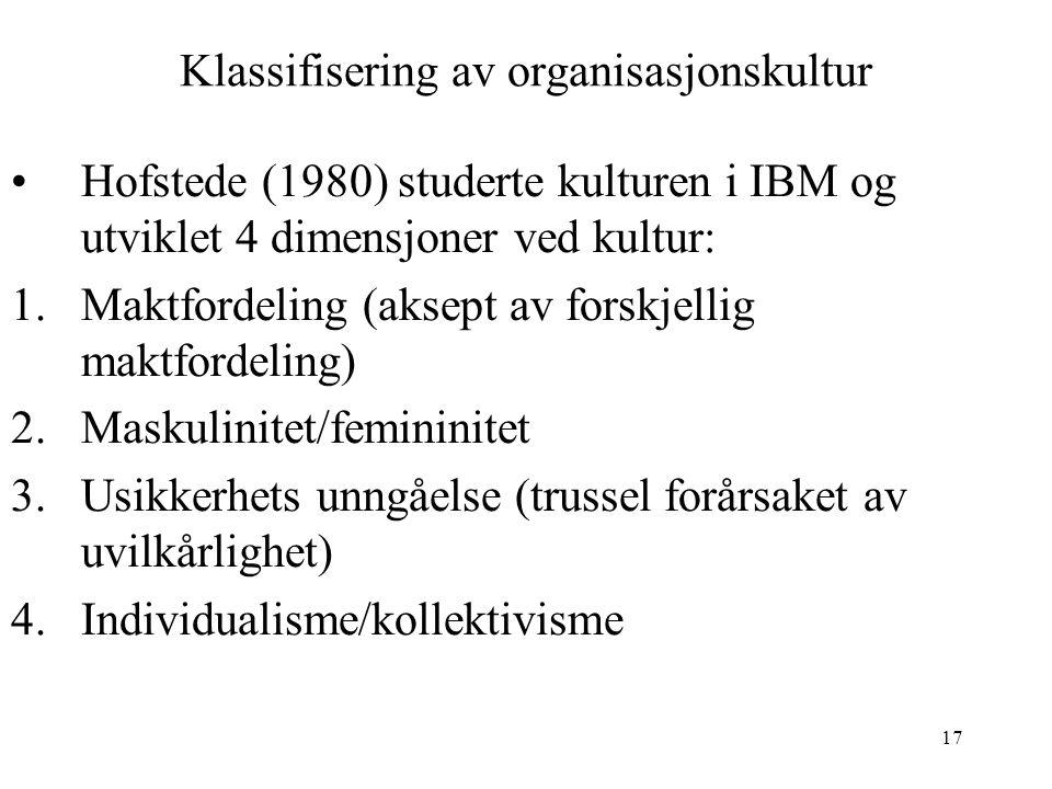 17 Klassifisering av organisasjonskultur Hofstede (1980) studerte kulturen i IBM og utviklet 4 dimensjoner ved kultur: 1.Maktfordeling (aksept av fors
