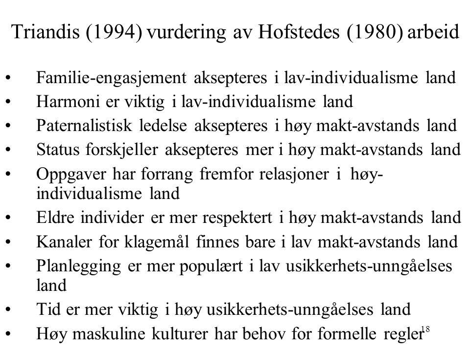 18 Triandis (1994) vurdering av Hofstedes (1980) arbeid Familie-engasjement aksepteres i lav-individualisme land Harmoni er viktig i lav-individualism