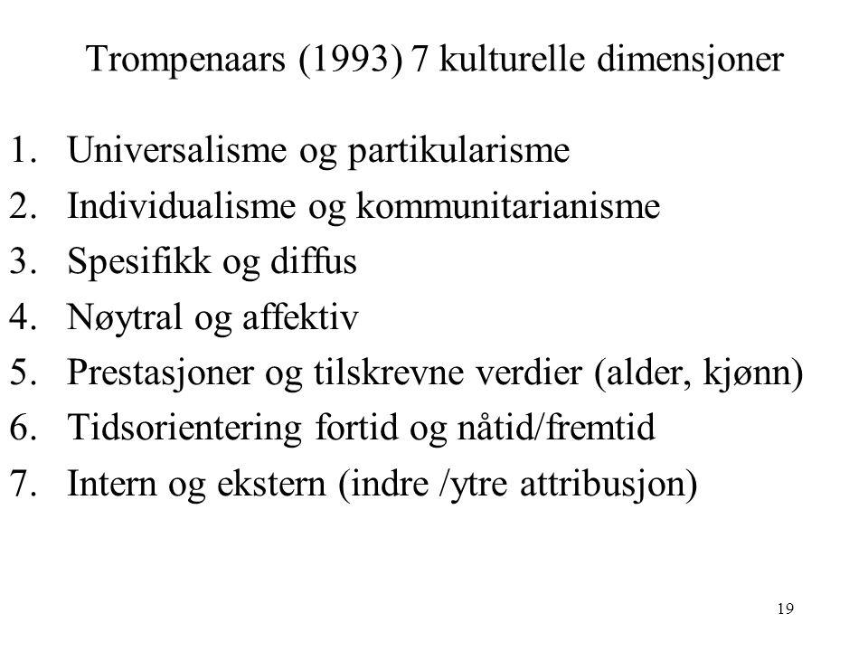 19 Trompenaars (1993) 7 kulturelle dimensjoner 1.Universalisme og partikularisme 2.Individualisme og kommunitarianisme 3.Spesifikk og diffus 4.Nøytral