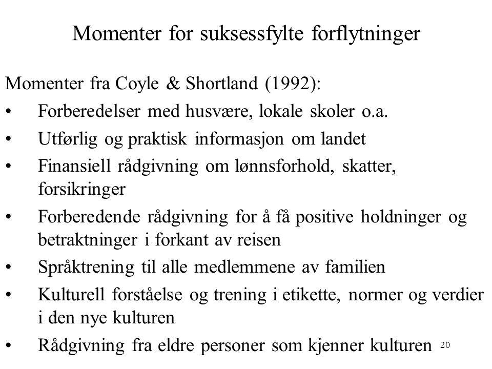 20 Momenter for suksessfylte forflytninger Momenter fra Coyle & Shortland (1992): Forberedelser med husvære, lokale skoler o.a. Utførlig og praktisk i