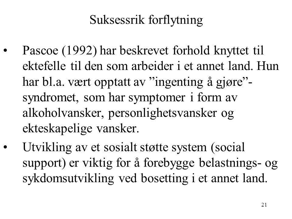 21 Suksessrik forflytning Pascoe (1992) har beskrevet forhold knyttet til ektefelle til den som arbeider i et annet land. Hun har bl.a. vært opptatt a