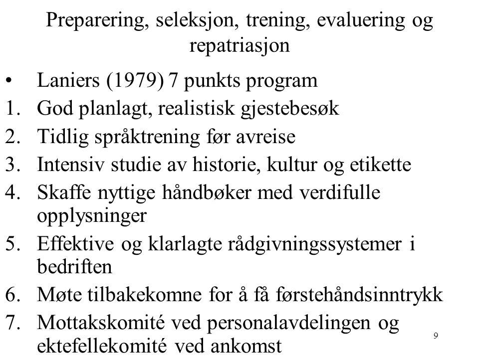 9 Preparering, seleksjon, trening, evaluering og repatriasjon Laniers (1979) 7 punkts program 1.God planlagt, realistisk gjestebesøk 2.Tidlig språktre