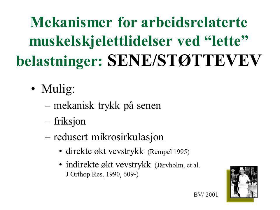 Mekanismer for arbeidsrelaterte muskelskjelettlidelser ved lette belastninger: SENE/STØTTEVEV Mulig: –mekanisk trykk på senen –friksjon –redusert mikrosirkulasjon direkte økt vevstrykk (Rempel 1995) indirekte økt vevstrykk (Järvholm, et al.