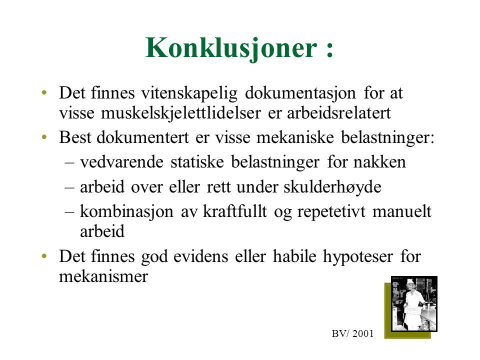 Konklusjoner : Det finnes vitenskapelig dokumentasjon for at visse muskelskjelettlidelser er arbeidsrelatert Best dokumentert er visse mekaniske belas