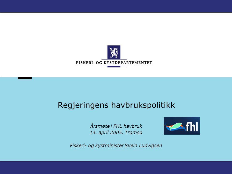 Verdier fra havet – Norges framtid Fiskeri- og kystminister Svein Ludvigsen 14.04.05 2004 var et godt år: - eksportverdien økte fra NOK 26 – 28 mrd., til tross for nedgang i volum - positiv utvikling i markeder utenfor EU Russland – 2004: - fiskeeksporten økte med NOK 700 mill.