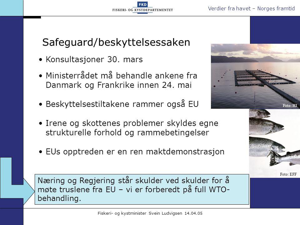 Verdier fra havet – Norges framtid Fiskeri- og kystminister Svein Ludvigsen 14.04.05 Konsultasjoner 30. mars Ministerrådet må behandle ankene fra Danm