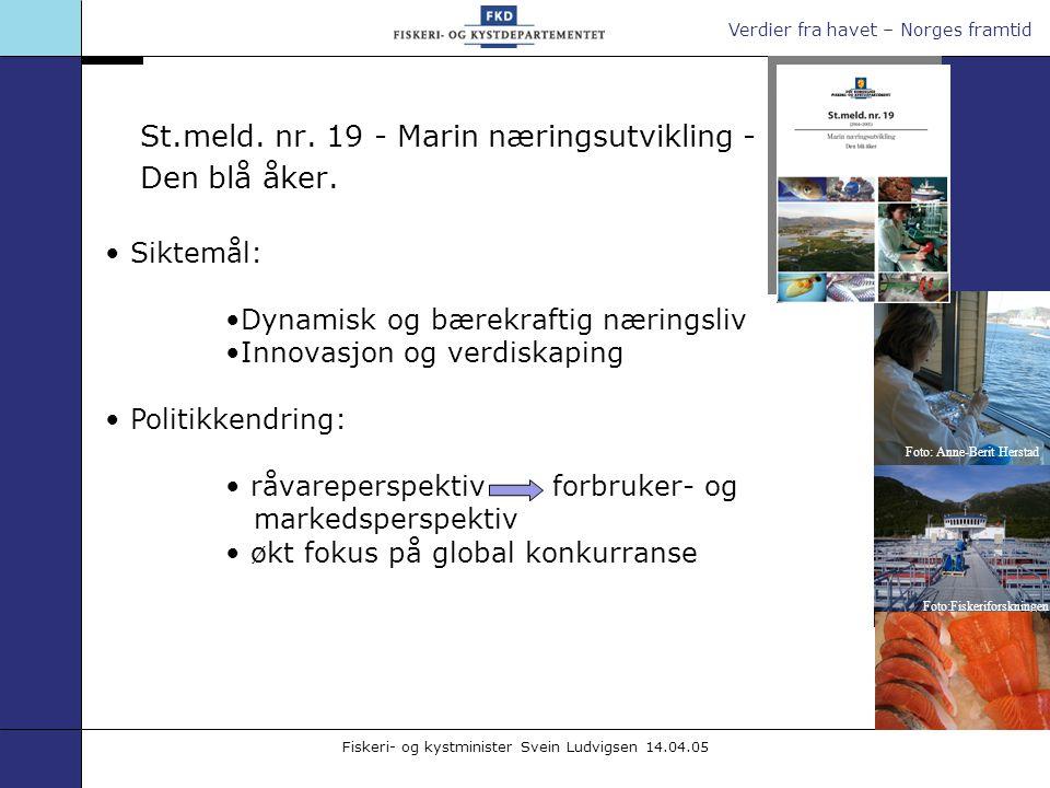 Verdier fra havet – Norges framtid Fiskeri- og kystminister Svein Ludvigsen 14.04.05 Siktemål: Dynamisk og bærekraftig næringsliv Innovasjon og verdis