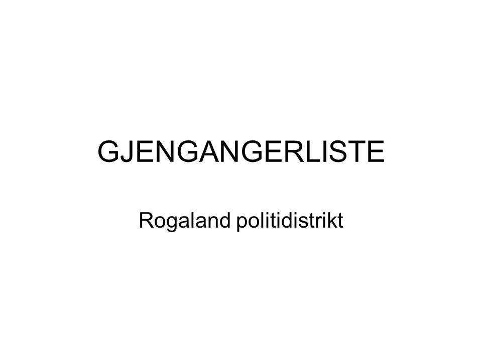 GJENGANGERLISTE Rogaland politidistrikt