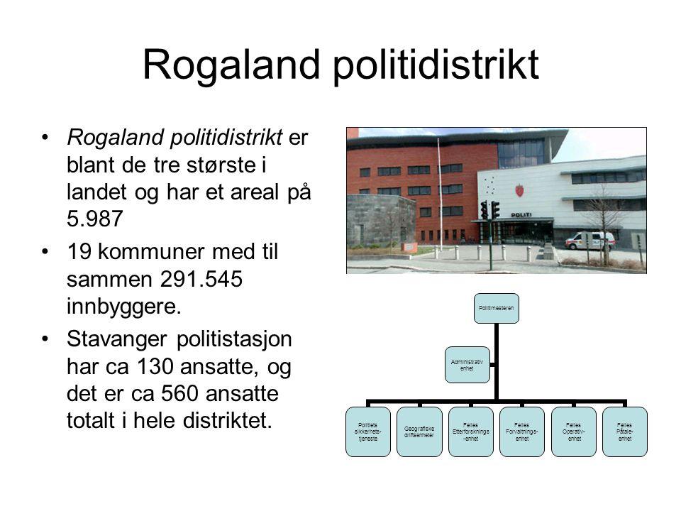 Rogaland politidistrikt Rogaland politidistrikt er blant de tre største i landet og har et areal på 5.987 19 kommuner med til sammen 291.545 innbyggere.
