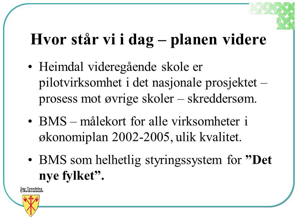 Sør-Trøndelag fylkeskommune Hvor står vi i dag – planen videre Heimdal videregående skole er pilotvirksomhet i det nasjonale prosjektet – prosess mot