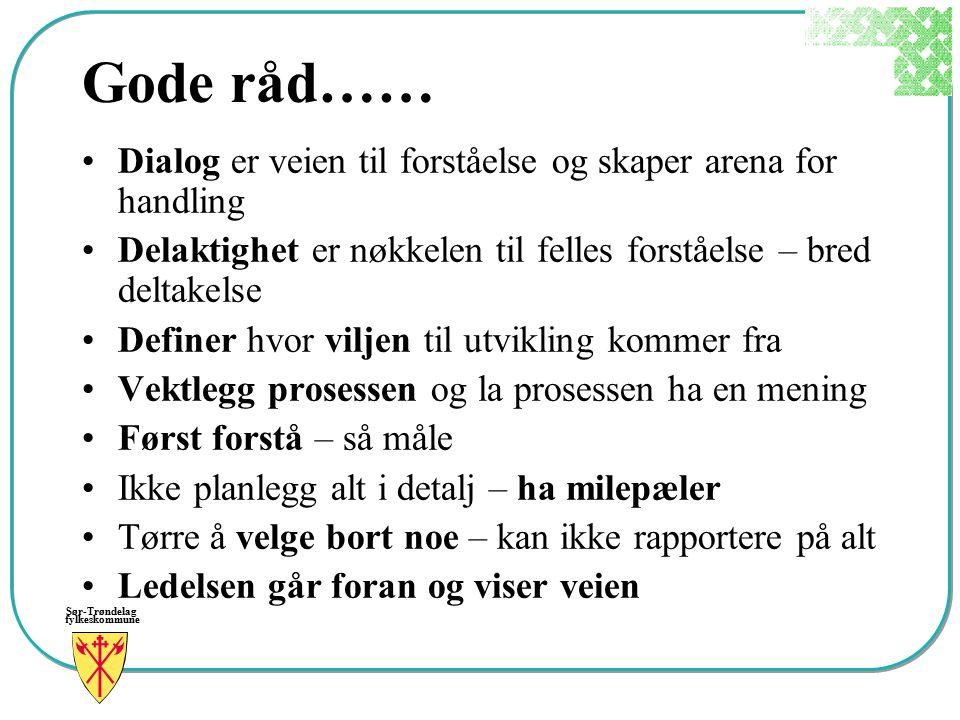 Sør-Trøndelag fylkeskommune Gode råd…… Dialog er veien til forståelse og skaper arena for handling Delaktighet er nøkkelen til felles forståelse – bre