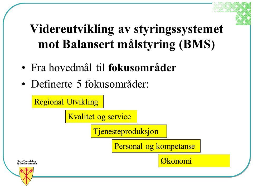 Sør-Trøndelag fylkeskommune Videreutvikling av styringssystemet mot Balansert målstyring (BMS) Fra hovedmål til fokusområder Definerte 5 fokusområder: