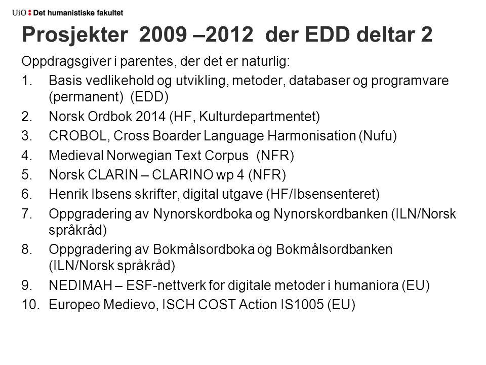 Oppdragsgiver i parentes, der det er naturlig: 1.Basis vedlikehold og utvikling, metoder, databaser og programvare (permanent) (EDD) 2.Norsk Ordbok 20