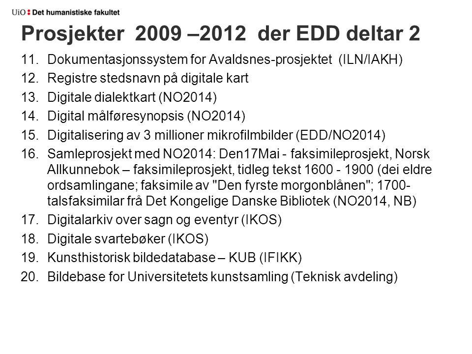 11.Dokumentasjonssystem for Avaldsnes-prosjektet (ILN/IAKH) 12.Registre stedsnavn på digitale kart 13.Digitale dialektkart (NO2014) 14.Digital målføre