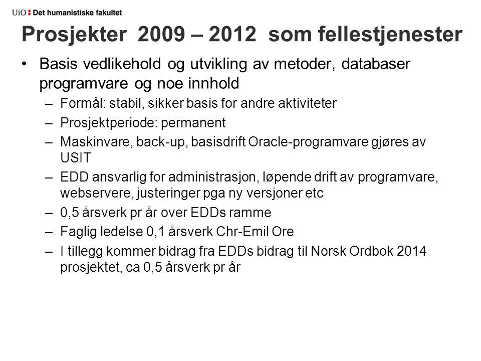 Prosjekter 2009 – 2012 som fellestjenester Basis vedlikehold og utvikling av metoder, databaser programvare og noe innhold –Formål: stabil, sikker bas