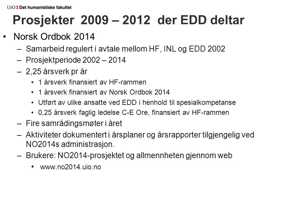 Prosjekter 2009 – 2012 der EDD deltar Norsk Ordbok 2014 –Samarbeid regulert i avtale mellom HF, INL og EDD 2002 –Prosjektperiode 2002 – 2014 –2,25 års