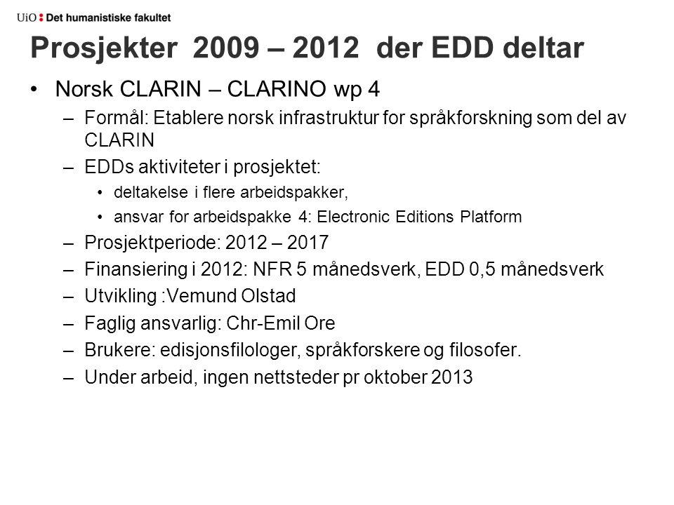 Prosjekter 2009 – 2012 der EDD deltar Norsk CLARIN – CLARINO wp 4 –Formål: Etablere norsk infrastruktur for språkforskning som del av CLARIN –EDDs akt