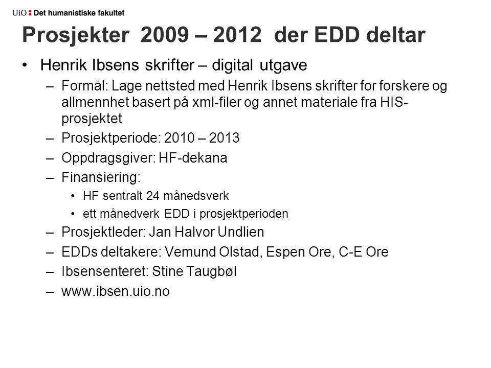 Prosjekter 2009 – 2012 der EDD deltar Henrik Ibsens skrifter – digital utgave –Formål: Lage nettsted med Henrik Ibsens skrifter for forskere og allmen