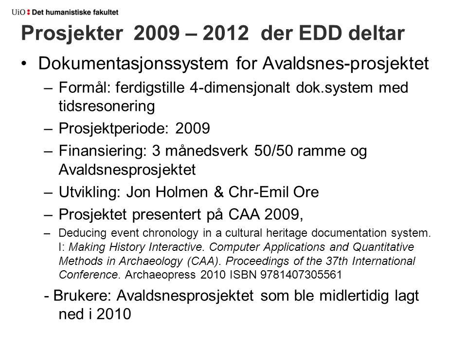 Prosjekter 2009 – 2012 der EDD deltar Dokumentasjonssystem for Avaldsnes-prosjektet –Formål: ferdigstille 4-dimensjonalt dok.system med tidsresonering