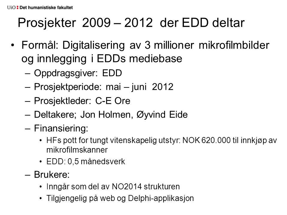 Formål: Digitalisering av 3 millioner mikrofilmbilder og innlegging i EDDs mediebase –Oppdragsgiver: EDD –Prosjektperiode: mai – juni 2012 –Prosjektle