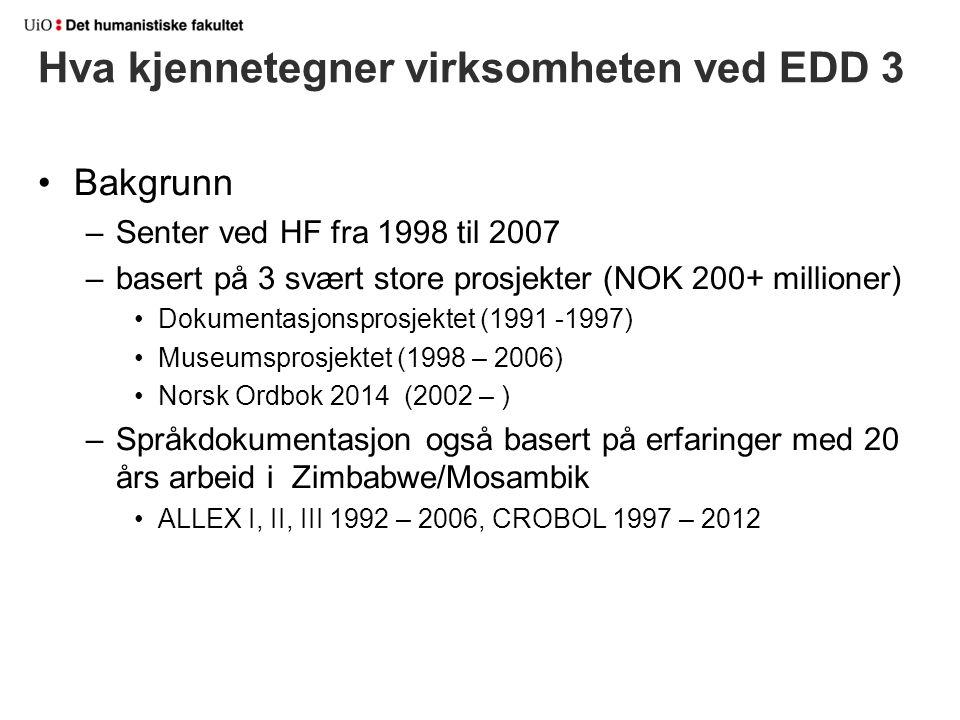 Bakgrunn –Senter ved HF fra 1998 til 2007 –basert på 3 svært store prosjekter (NOK 200+ millioner) Dokumentasjonsprosjektet (1991 -1997) Museumsprosje