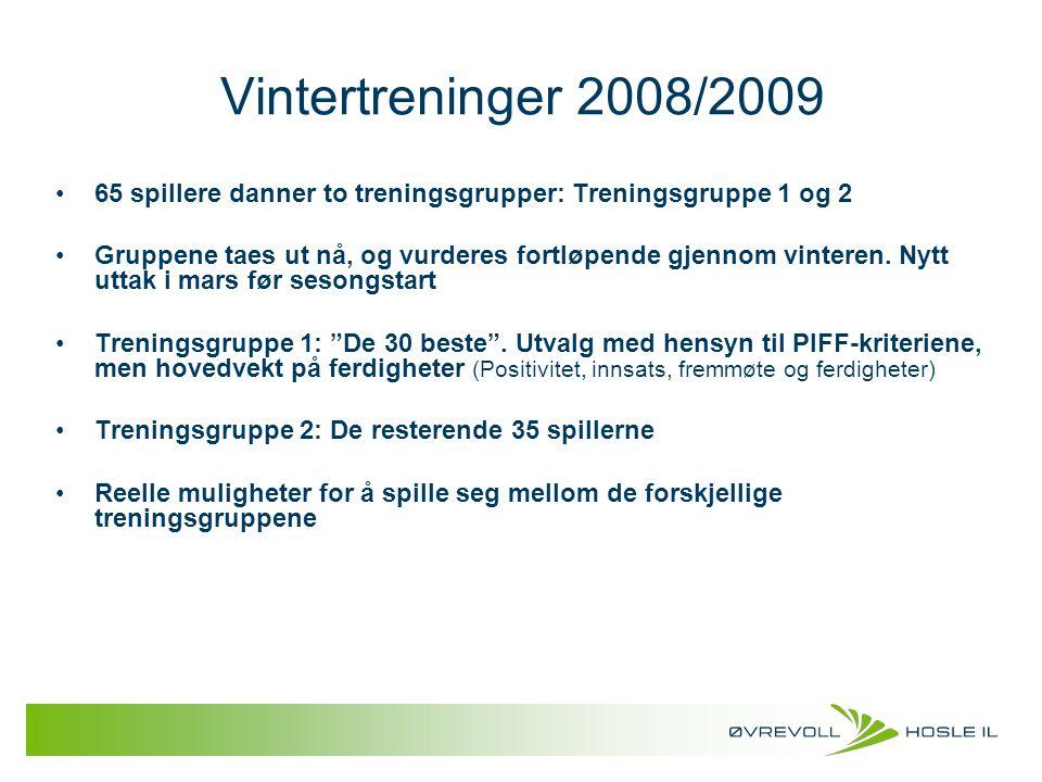 Vintertreninger 2008/2009 65 spillere danner to treningsgrupper: Treningsgruppe 1 og 2 Gruppene taes ut nå, og vurderes fortløpende gjennom vinteren.
