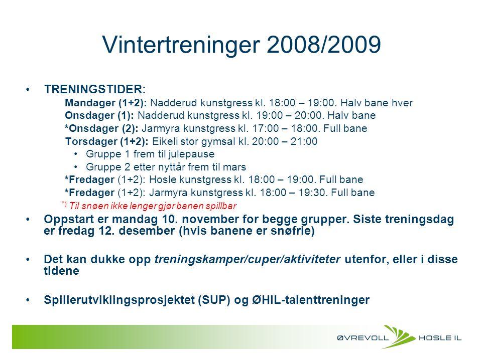 Vintertreninger 2008/2009 TRENINGSTIDER: Mandager (1+2): Nadderud kunstgress kl. 18:00 – 19:00. Halv bane hver Onsdager (1): Nadderud kunstgress kl. 1