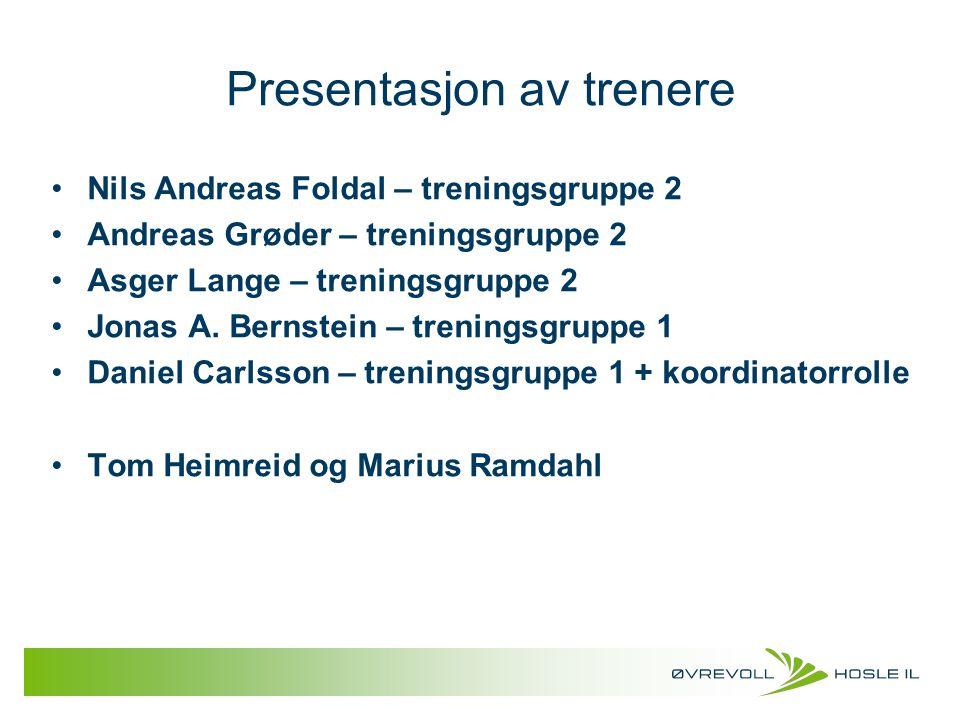 Presentasjon av trenere Nils Andreas Foldal – treningsgruppe 2 Andreas Grøder – treningsgruppe 2 Asger Lange – treningsgruppe 2 Jonas A. Bernstein – t