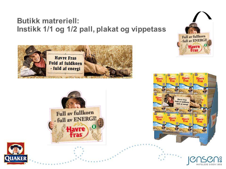 Butikk matreriell: Instikk 1/1 og 1/2 pall, plakat og vippetass