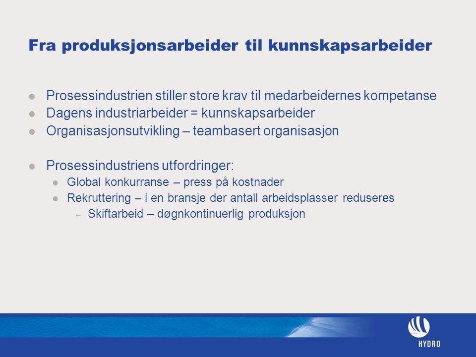 Fra produksjonsarbeider til kunnskapsarbeider Prosessindustrien stiller store krav til medarbeidernes kompetanse Dagens industriarbeider = kunnskapsar