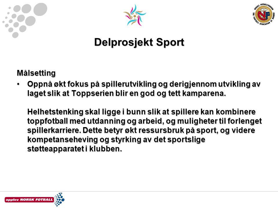 Delprosjekt Sport Målsetting Oppnå økt fokus på spillerutvikling og derigjennom utvikling av laget slik at Toppserien blir en god og tett kamparena.