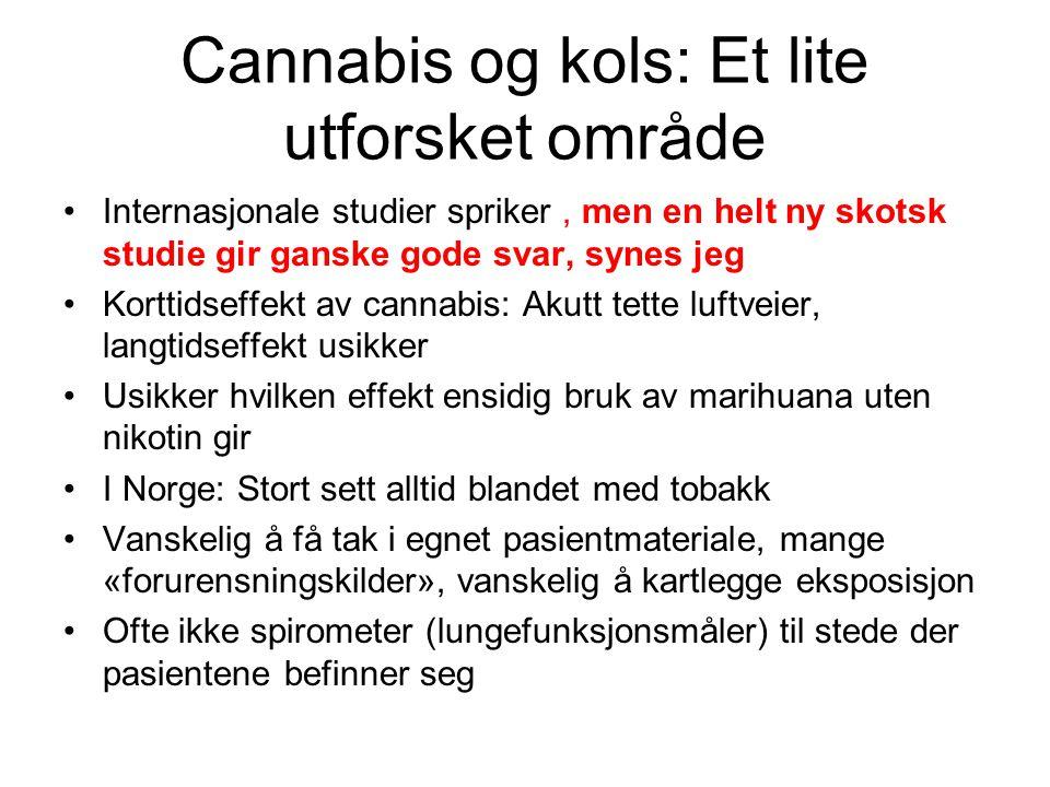 FEV1/FVC: Statistikk: T-test, Menn Cannabis +nikotin Bare nikotin P Antall7213 Gjennomsnitts alder 4243 Gj.snitt FEV/FVC 0,710,78 0,02