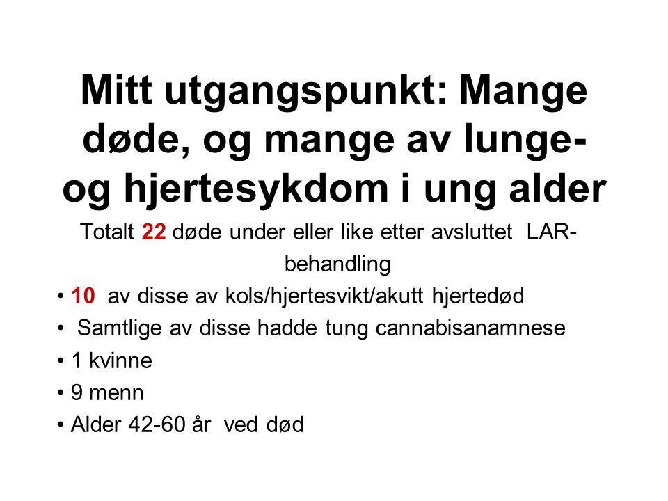 Helseundersøkelsen i Nord- Trøndelag (HUNT)kan være nyttig De har (i tillegg til alt mulig annet) også målt lungefunksjonen til deltakerne De har spurt dem om røyking De har laget en helt ny formel for å regne ut hva som er «normale norske lunger» Mennene var ganske kompliserte: Exp(-9.091 + 2.004*HeightLn – 0.000163*Age*Age + 0.007237*Age) Kvinnene var meget enklere: Exp(-10.556 + 2,342*HeightLn – 0.0000685*Age*Age)