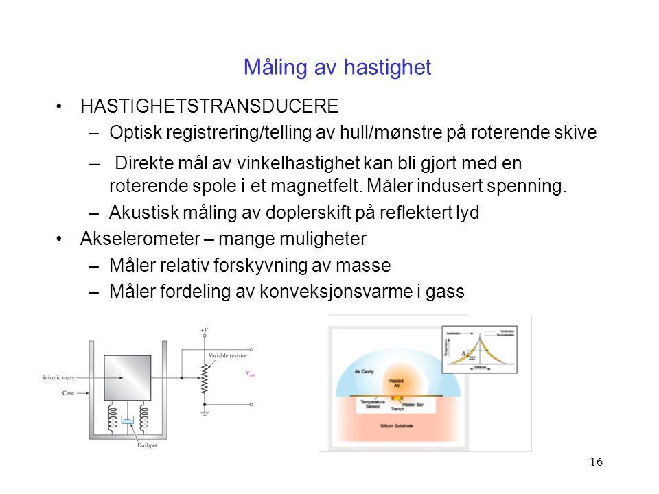 16 HASTIGHETSTRANSDUCERE –Optisk registrering/telling av hull/mønstre på roterende skive – Direkte mål av vinkelhastighet kan bli gjort med en roteren