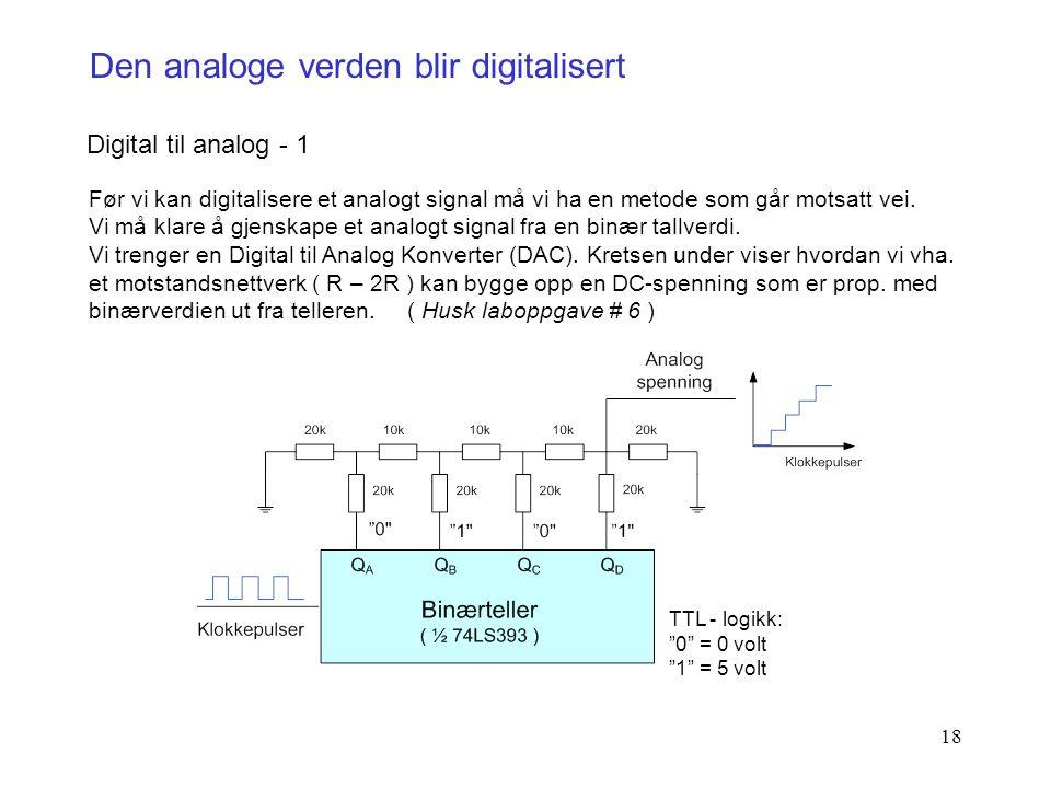 18 Den analoge verden blir digitalisert Digital til analog - 1 Før vi kan digitalisere et analogt signal må vi ha en metode som går motsatt vei. Vi må