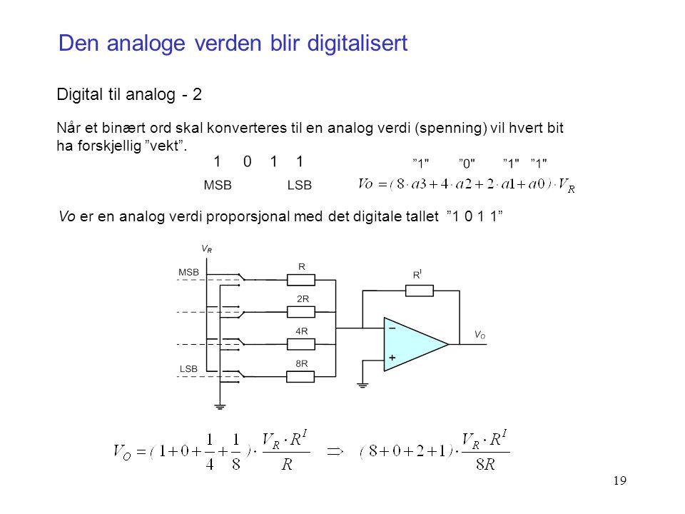19 Den analoge verden blir digitalisert Digital til analog - 2 Når et binært ord skal konverteres til en analog verdi (spenning) vil hvert bit ha fors