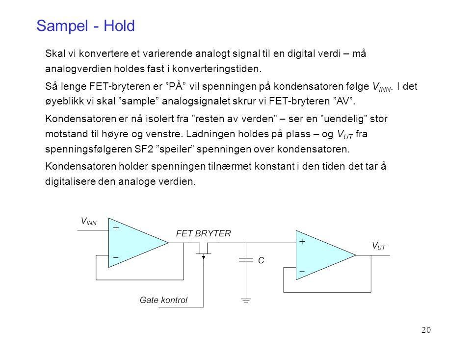20 Sampel - Hold Skal vi konvertere et varierende analogt signal til en digital verdi – må analogverdien holdes fast i konverteringstiden. Så lenge FE