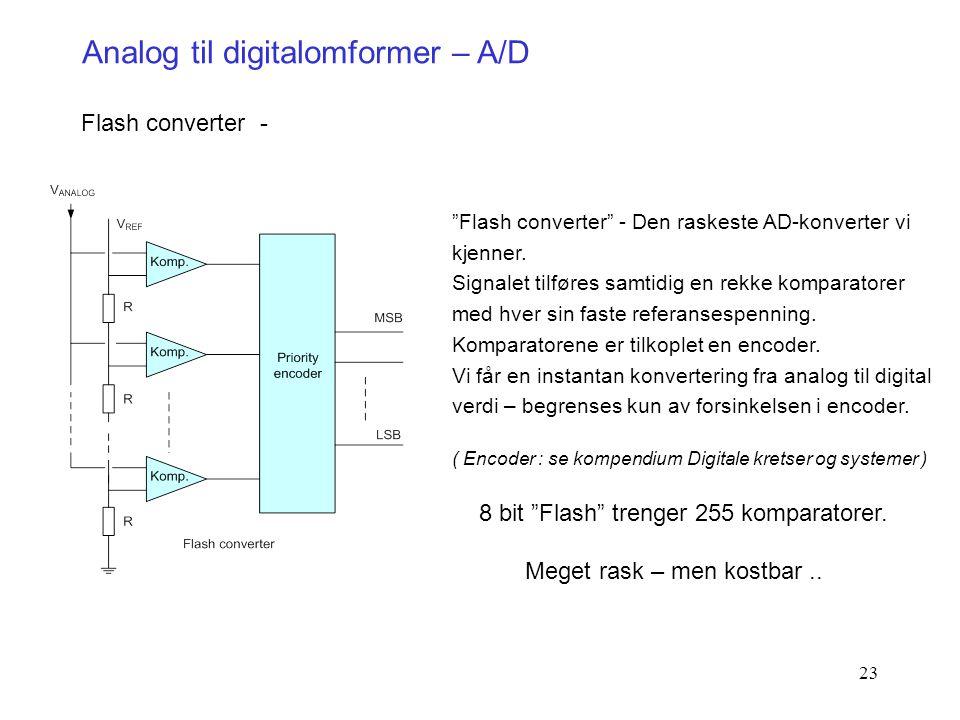 """23 Analog til digitalomformer – A/D Flash converter - """"Flash converter"""" - Den raskeste AD-konverter vi kjenner. Signalet tilføres samtidig en rekke ko"""