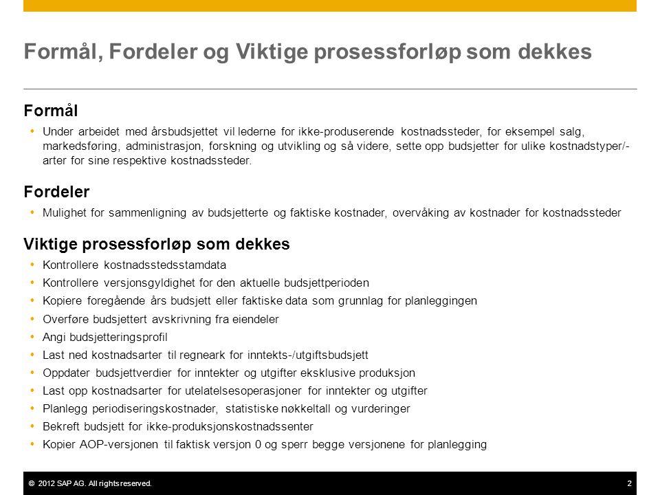 ©2012 SAP AG. All rights reserved.2 Formål, Fordeler og Viktige prosessforløp som dekkes Formål  Under arbeidet med årsbudsjettet vil lederne for ikk