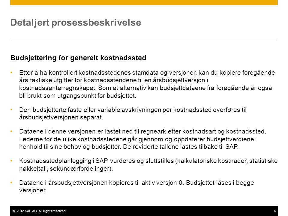 ©2012 SAP AG. All rights reserved.4 Detaljert prosessbeskrivelse Budsjettering for generelt kostnadssted Etter å ha kontrollert kostnadsstedenes stamd