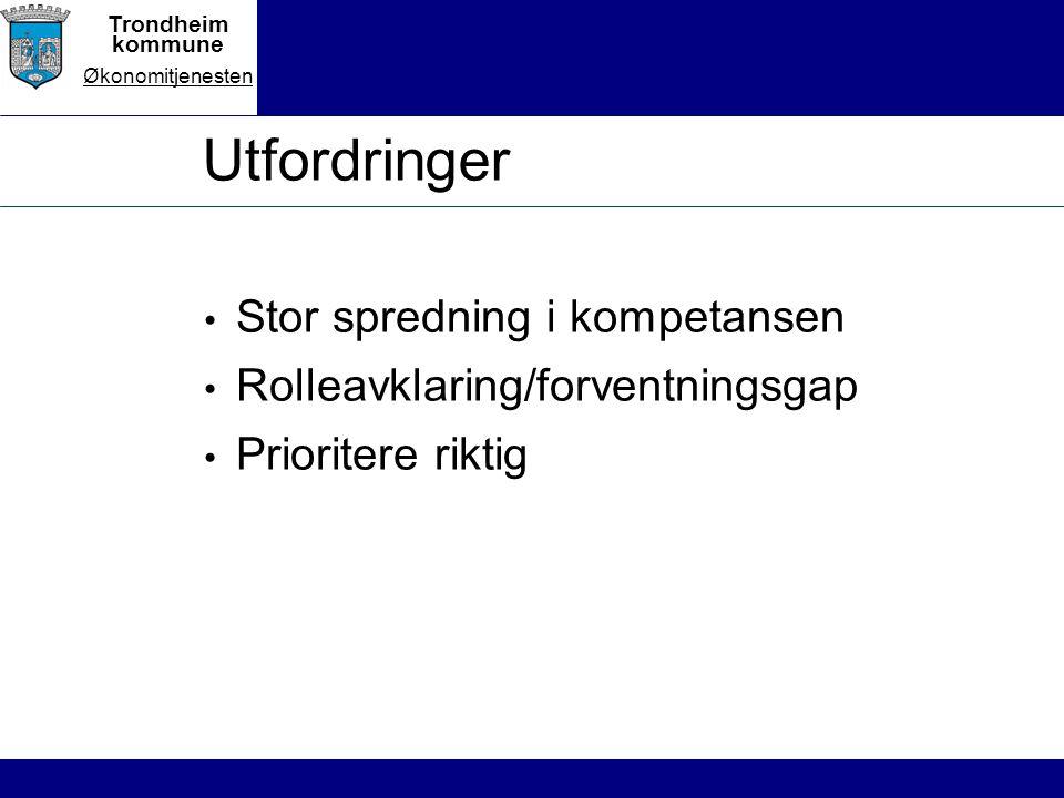 Trondheim kommune Økonomitjenesten Utfordringer Stor spredning i kompetansen Rolleavklaring/forventningsgap Prioritere riktig