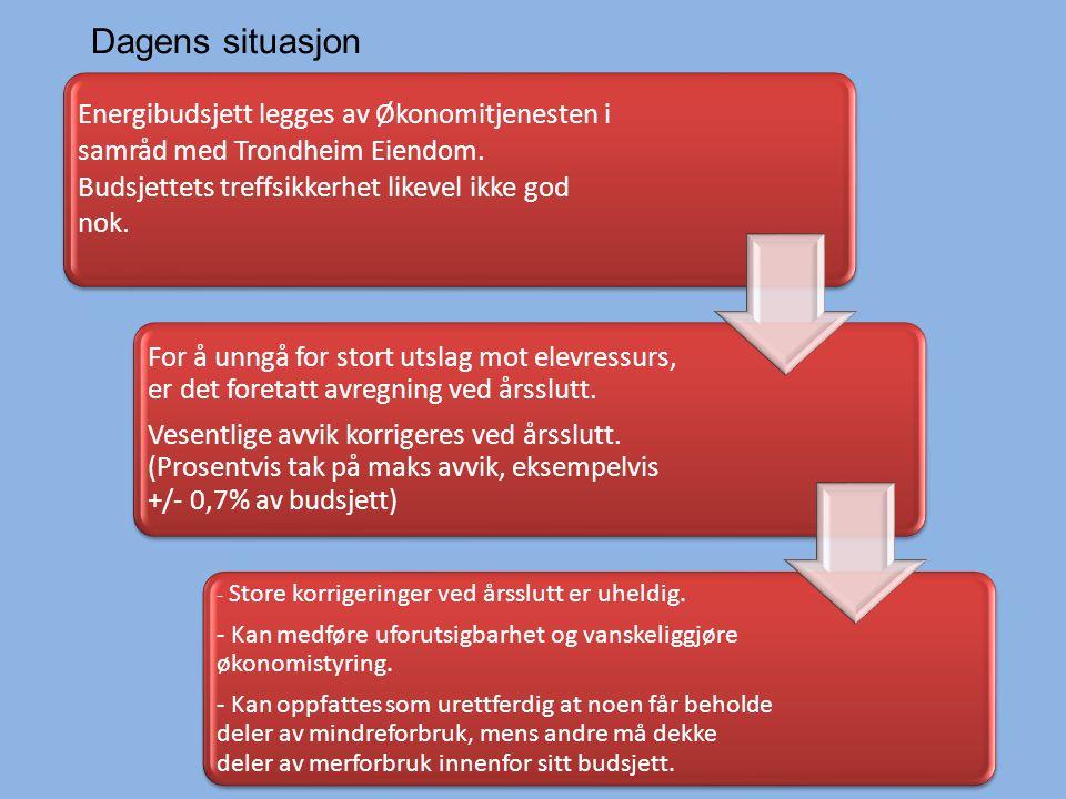 Energibudsjett legges av Økonomitjenesten i samråd med Trondheim Eiendom.