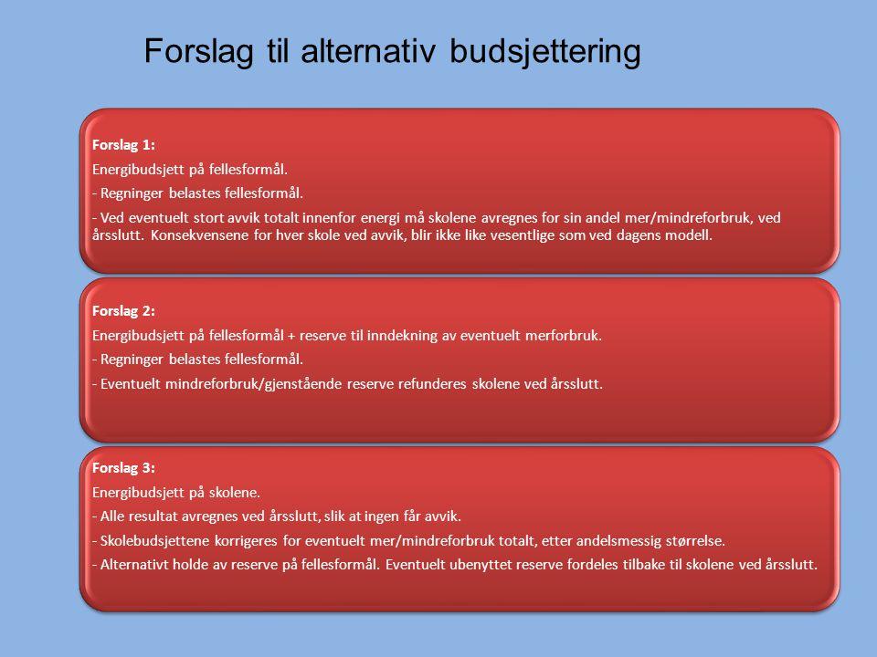 Forslag 1: Energibudsjett på fellesformål. - Regninger belastes fellesformål.