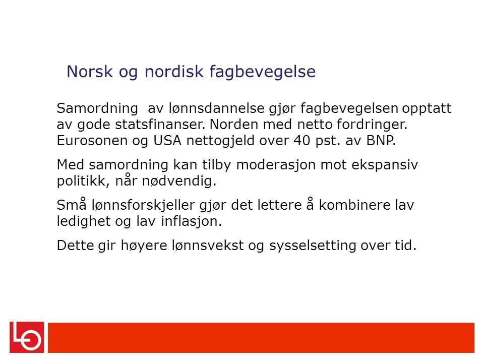 Norsk og nordisk fagbevegelse Samordning av lønnsdannelse gjør fagbevegelsen opptatt av gode statsfinanser.