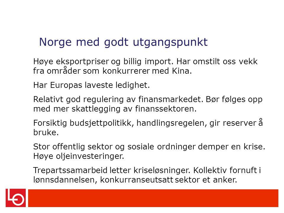 Norge med godt utgangspunkt Høye eksportpriser og billig import.