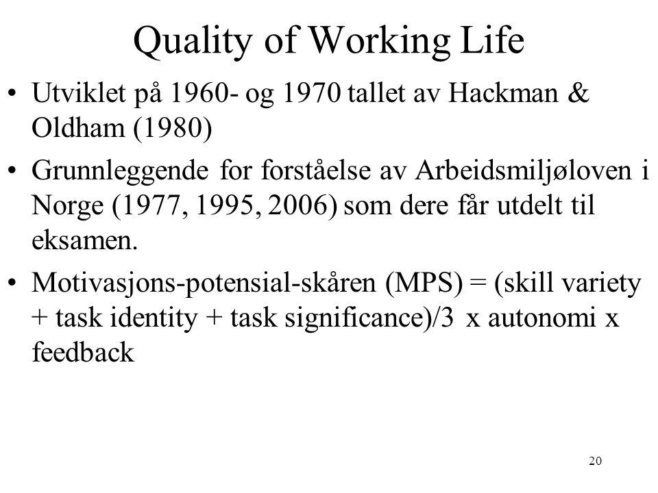 20 Quality of Working Life Utviklet på 1960- og 1970 tallet av Hackman & Oldham (1980) Grunnleggende for forståelse av Arbeidsmiljøloven i Norge (1977