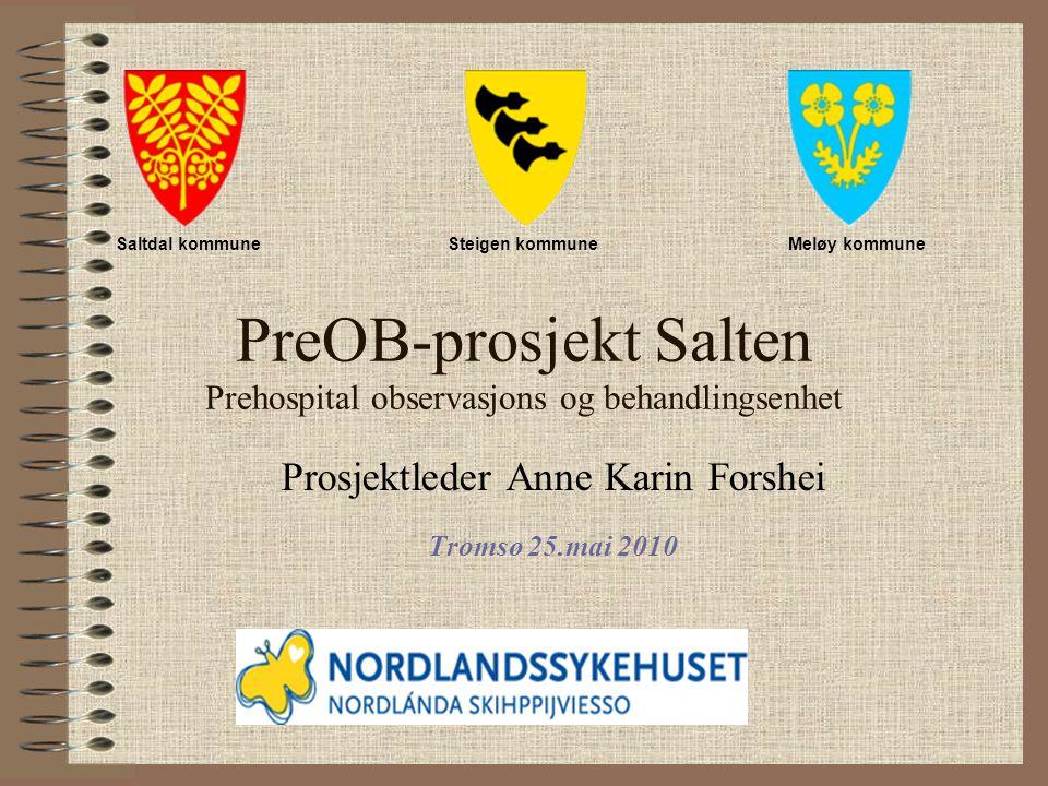 PreOB-prosjekt Salten Prehospital observasjons og behandlingsenhet Prosjektleder Anne Karin Forshei Tromsø 25.mai 2010 Saltdal kommuneSteigen kommuneMeløy kommune