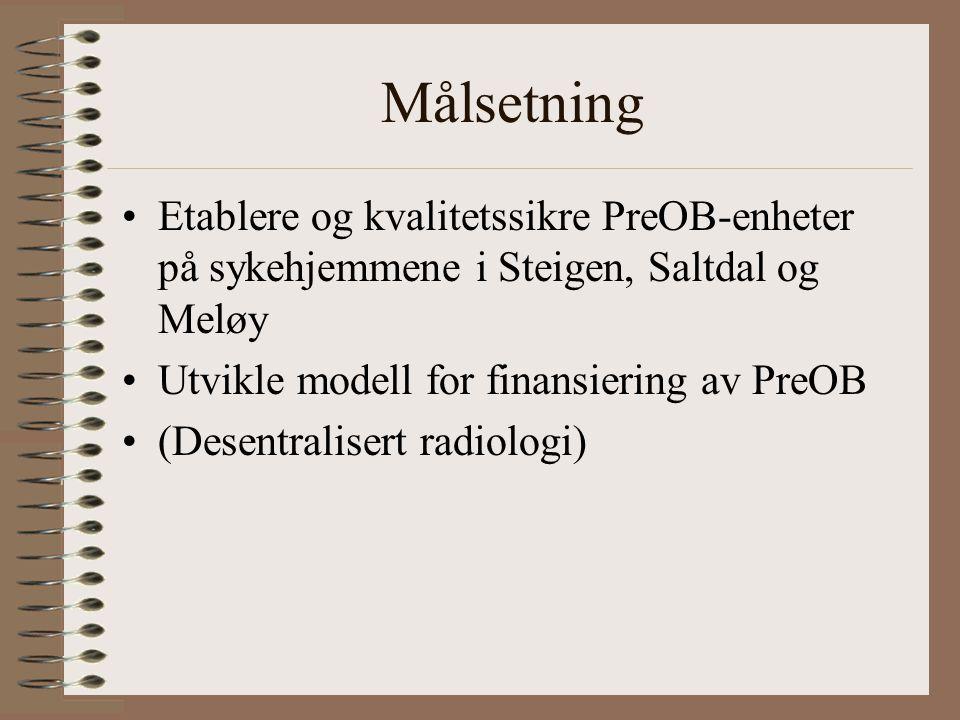 Målsetning Etablere og kvalitetssikre PreOB-enheter på sykehjemmene i Steigen, Saltdal og Meløy Utvikle modell for finansiering av PreOB (Desentralisert radiologi)